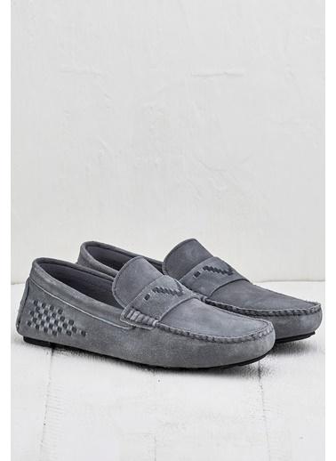 Elle %100 Deri Loafer Ayakkabı Gri